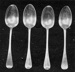 Tablespoons, by Cario: Three of these spoons bear the touch mark of W.Cario and the other that of Benjamin Burt. Obviously, the latter was a replacement made at a later date. Although these spoons are engraved with various initials, they are part of a set originally made by Cario.