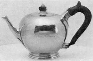"Teapot for Nicholas Sever: This bears the mark of John Burt and the inscription ""Ex Dono Pupillorum, 1728."""