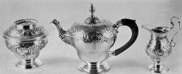Tea Set by Peter de Riemer: These three pieces, with rococo decoration, are believed to comprise the first tea service made in New York. They bear the Van Rensselaer crest and the initials of Philip Schuyler Van Rensselaer. De Riemer was born in New York in 1738, became a freeman in 1769, and died in 1814.