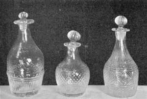 Illustration VII: Three Quarter-Pint Decanters: The one at the extreme left is, in design, the rarest of any of the decanters illustrated with this article.