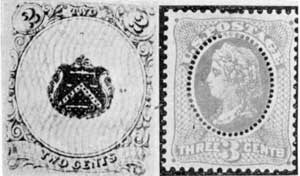 To Foil Stamp Re-Users: At the left an essay with patented wavy-line overprinting, done with sensitive ink. At the right an oval of perforations surrounding the Liberty head to make re-use of this proposed stamp practically impossible.