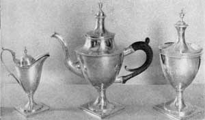 Vice-President Aaron Burr's teaset made by Abraham du Bois prior to 1800, a Philadelphia interpretation of the classic style in American silver.
