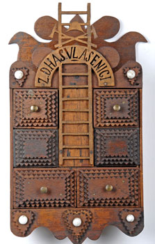 Tramp Art Wall Box with Drawers & Fireman's Tools