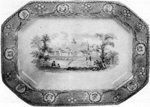 4. Light blue Staffordshire tray bearing the arms of six States and a medallion view, one of Bartlett's paintings of Little Falls, N. Y., as engraved in Willis' American Scenery. Made by Mellor, Venables & Co.