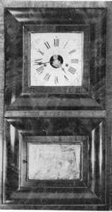 "4. A Forestville clock with 1835-39 movement yet uniquely cased in an ""OG on an OG"" and bearing an exceptional label mentioning only two of the manufacturer's names."