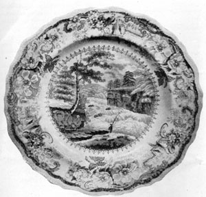 5. Mulberry Colored Staffordshire plate with a view taken from the engraving of Wall's painting, Rapids Above Hadley's Falls. Made by James & Ralph Clews.