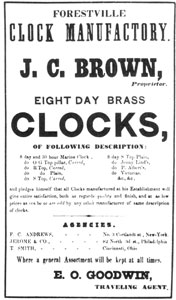5. Forestville advertisement of 1851 listing types of clocks the Company was then producing — marines, OG top pillars, R tops, S tops, Jenny Linds, Prince Alberts and Victorian.