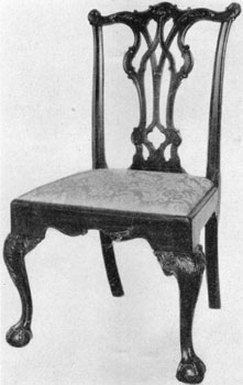 Philadelphia Chippendale side chairs were of endless variety. The three principal types of backs were the French, the Gothic, and the Strap-scrolled (developed from the Queen Anne) back. Cresting rails, uprights, seat rails, knee carvings and occasionally the feet might have individual treatment as well as the splats. Students should try to see how many differentiating details they can find; they will be surprised at the variety.
