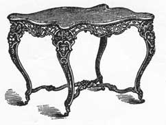 A Parlor Table of Cast-Iron: The frame was painted to simulate rosewood and the top was white marble. A typical example of the Victorian but executed in iron instead of wood. Shown as illustrated in a catalogue of Chase Brothers, Boston iron founders who specialized in this type of metal furniture.
