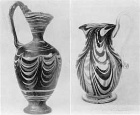 Illustration VII, VII-A.: Blown Glass with Colored Loops: Illustration VII, an Alexandrian type wine jug of the Greek period, Mode of multi-colored glass. Illustration VII-A, free-blown South Jersey type pitcher, mid 19th Century with loops of colors.
