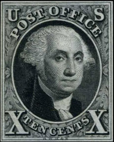 Postage Stamp of the United States First Issued in 1847 - Scott 2 - 10¢ Black Washington - Issued: July 1, 1847, Imperforate - about  864,000  issued (1847-1851), Printed on 200 subject plates in 2 panes of 100 in a 10x10 format, engraved by Asher B. Durand