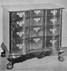 Boston Block-Front Chest of Drawers: In its design and proportions, this mahogany piece is representative of the block-front furniture made in Boston in the Chippendale period. It dates circa 1770 and was long owned by the Higginson family.