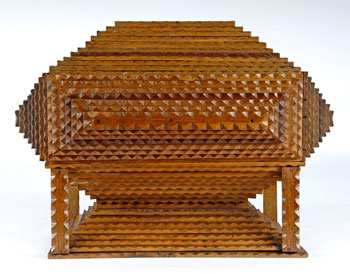 Fine Tramp Art Pedestal Box with Columns