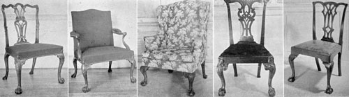 Chippendale Chairs, Both English and American: A — London-made, of mahogany, it has a crested toprail, vase-shaped, carved, and fluted back, cabriole front legs carved with rosettes, and terminating with hairy paw feet. B — Armchair from the same set where upholstered back is also crested. C — A New York mahogany wing chair with carved cabriolet legs of fine quality that combine elaborate foliage at the knees and boldly done claw-and-ball feet. D — A New York mahogany side chair with interlaced back splat, crested top terminating with carved shells and tassels, and cabriole legs with carved scallops, shells, and leafage extending to the ankle. Very close in design and execution to the labeled chair by Gilbert Ashe. E — A Philadelphia walnut chair with characteristic design of both crested toprail and pierced back splat.