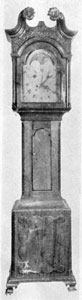 Clock Case by John Bachman Made About 1796: Date is approximate but not a guess. The Movement is by Martin Shreiner of Lancaster, working 1790-1830. The dial is marked Martin Shreiner, Lancaster, No. 54. Shreiner numbered his clocks in order of making. In all he made Numbers 1 to 356. When this clock was found some ten years ago, the case was attributed to Savery of Philadelphia, and the clock priced at $4,500.