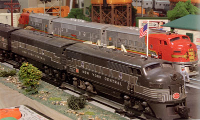 Bill Hitchcock has both the Santa Fe and New York Central F3A diesels and the F3B diesels from 1948 and 1949.