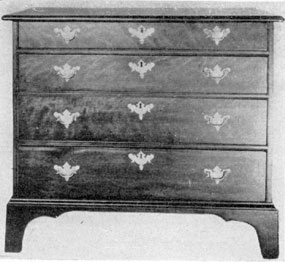Early and Simple Chippendale: This chest of drawers by a nameless cabinetmaker of Fall Village, Connecticut is of the Chippendale era, though the bracket feet and moldings are severely plain. Made of maple, the drawer fronts are of curly grained wood.