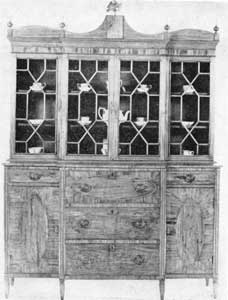 Elaborate Salem Break-Front Butler's Secretary: Hepplewhite design with handsome mahogany veneering, this piece bears the label of Edmund Johnson, Salem, Massachusetts, 1793-1811.