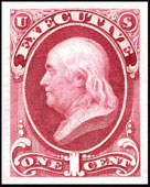"The Executive Departmental Stamp Designs of 1873, Plates of 100 stamps - Perforated 12 - Issued July 3, 1873, Printed by the Continental Bank Note Company on ""thin, hard"" whitish paper, Scott O10 - 1¢ Franklin"