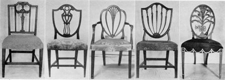 Hepplewhite Chairs as Made in America: No. 1, probably made in Baltimore, is almost an exact copy of a chair on Plate 7 of the Guide; No. 2 is an unusual form of the shield-back chair and bears the label of John Shaw, Annapolis, Md.; No. 3, a typical chair with heart-shaped back; No. 4, a Philadelphia-made chair with shield-shaped back; and No. 5, a Boston chair employing the Prince of Wales feathers in the oval back.