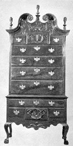 A Bachman Highboy: This piece, of crotch-grained walnut, depending upon its actual date of production, may be by Jacob Bachman, or by his son John. John I is presumed to have started active work about 1793-95. It is probably by Jacob Bachman, as the date would appear to be about 1770-1780.