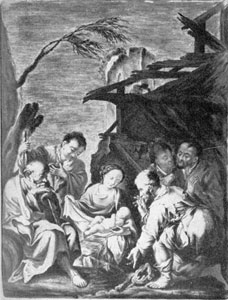 Illustration V: Adoration of the Shepherds: The plague was decorated by Adam Friedrich von Lowenfinck between 1741 and 1744 when he was working at Fulda.