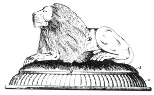 ILLUSTRATION I: Lion Covered Dish: The date of this patent, taken out by T. B. Atterbury was August 6, 1889.