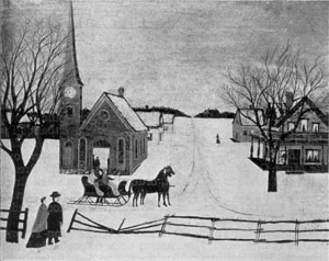 Illustration III: Winter Sunday in Norway, Maine: Oil on canvas. c. 1870. Collection of the author.