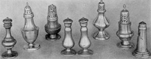 Later Pewter Pepper Pots: With these, there was an infinite variation of shapes and forms. Notice the matching pair in the center. Pairs are rarely found.