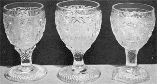 Less Usual Designs of Sandwich Lacy Goblets: Goblet D shows the juncture of bowl and stem very clearly, while in goblets E and F this joining is less evident. Goblets E and F appear less often than goblet D.