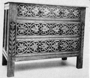 Made Between 1675 and 1700 of Oak: This with its three drawers is a chest of drawers, yet the stile and rail construction and flat carving of conventional forms relate it to the Hartford and Hadley chests.