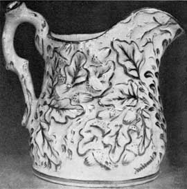 2. Parian porcelain pitcher, acorn design, made by Charles Cartlidge & Co., Greenpoint (Brooklyn), N. Y., 1848-56. Designed by Josiah Jones.