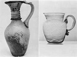 Illustration II, II-A: Pattern Molded with Applied Threads: Illustration II probably made at Alexandria. 2nd to 5th Century A.D. Illustration II-A, mid-western type pitcher, circa 1825. Both pieces were pattern molded and then had the decorative threads of glass plastically applied.