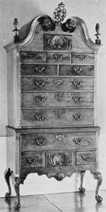 Philadelphia Chippendale Highboy: Representative of the work of this center at its purest and best, the carved ornamentation is restrained and not too ornate. Made of mahogany, it is from the Garvan collection and was exhibited in the Girl Scout loan exhibition of 1929.