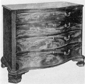 Philadelphia Chippendale by Gostelowe: This serpentine-fronted chest of drawers of mahogany with chamfered and needed front corners and shaped bracket feet shows how Chippendale designs could inspire the gifted cabinetmakers of Philadelphia.