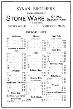 Price list of stone ware made at the Synan Bros. pottery.