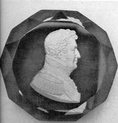 Profile Portrait of Cornwallis: Aspley Pellatt of London obtained a patent in 1819 for such profile medallions embedded in glass with the appearance of silver.