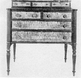 The Sheraton Style as Made in America: This chest of drawers bears the label of Levi Ruggles who worked circa 1795-1810 and had his cabinetmaker's shop in Boston.