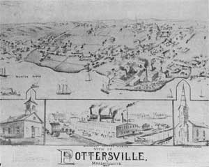 Topographical view of the settlement with detail of Somerset Potters Works centered at bottom.