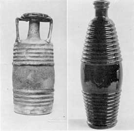 Illustration IX, IX-A: Two Barrel Bottles: Illustration IX, one of the types made and often marked by Frontinius Son in Gaul in the 3rd Century; Illustration IX-A, mold blown barrel bottle made in Lancaster, N. Y., 1850-1870.