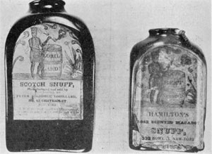 Two Snuff Bottles: One of these represents the oldest of today's tobacconists. Snuff was also sold in wooden boxes with the name of the snuff or the vendor branded in or affixed as a printed label.