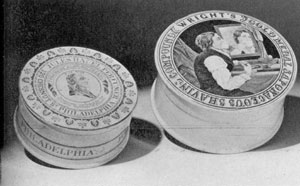 Two Pottery Containers: One of these contained Jules Hauell's Beauty Cream; the other Wright's Shaving Cream.