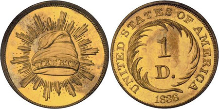 First gold dollar pattern. Photo courtesy of Bowers and Merena via uspatterns.com.