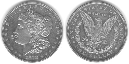 Second prototype for the Morgan dollar with 3 leaves on the olive branch. Photo courtesy of Michael S. Fey, Ph.D. via uspatterns.com.