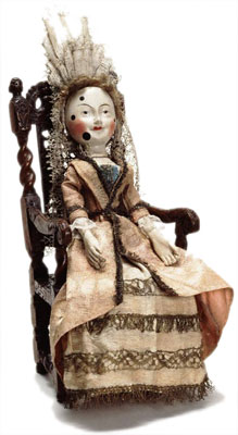 The Old Pretender Doll made about 1680. Said to have belonged to King James II at Holyroodhouse in Edinburg.