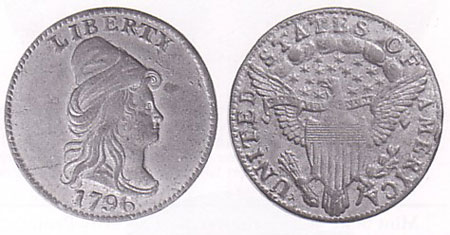 an example of the 1796 no stars quarter eagle struck in white metal from rusted dies. This is a restrike believed to have been made by Joseph Mickley or Montroville Dickeson from dies the mint sold as scrap. Photo courtesy of Heritage via uspatterns.com.
