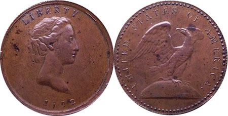 Famous Wright quarter trial with 87 stars on the reverse. Photo courtesy of the National Numismatic Collection via uspatterns.com.