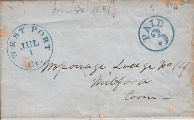 A July 1, 1851 cover from West Port, Connecticut used on the first day of the new, lower three cent postal rate.