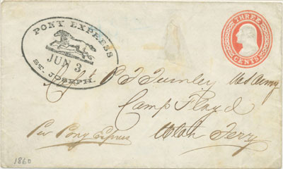 Postmark June 3, 1860. A cover sent privately by Pony Express from St. Joseph, Missouri to Salt Lake City.
