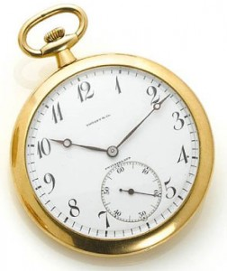 Tiffany & Co. A fine 18k gold open face pocket watch made by Agassiz Watch Company, Switzerland. 1910.